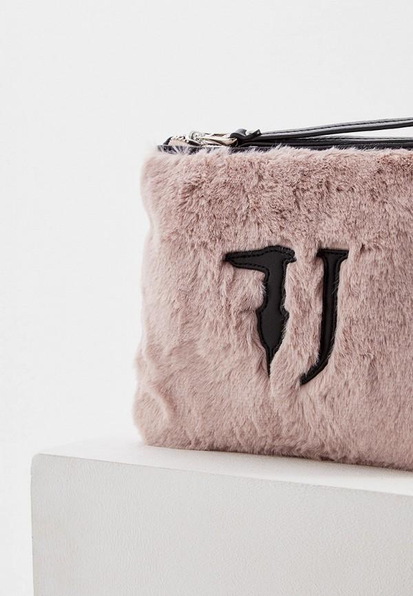 Фото 3 - женский клатч Trussardi Jeans розового цвета