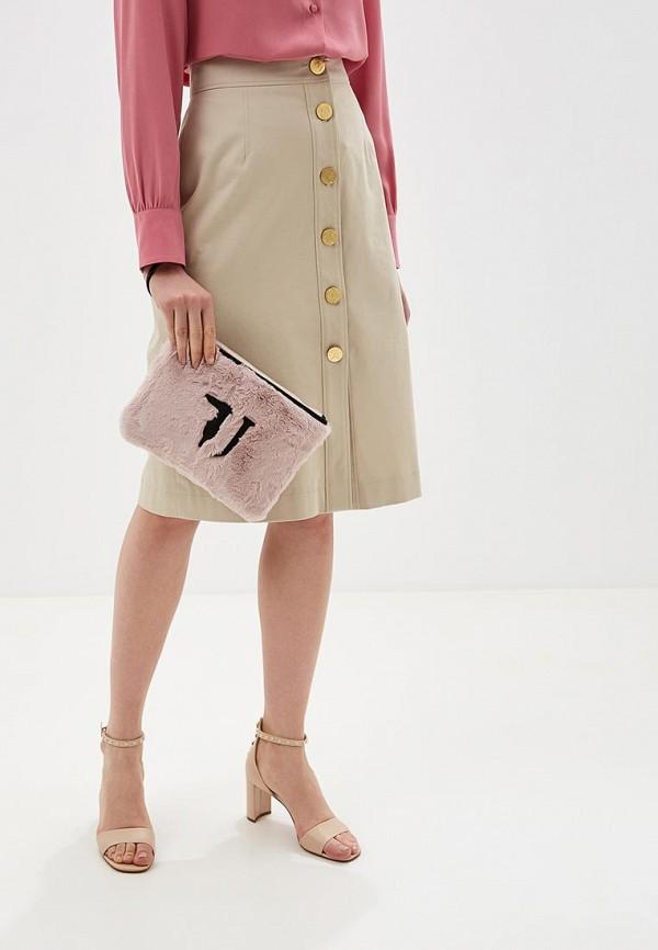 Фото 5 - женский клатч Trussardi Jeans розового цвета