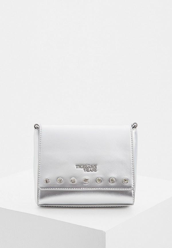 Купить Женскую сумку Trussardi Jeans серебрянного цвета
