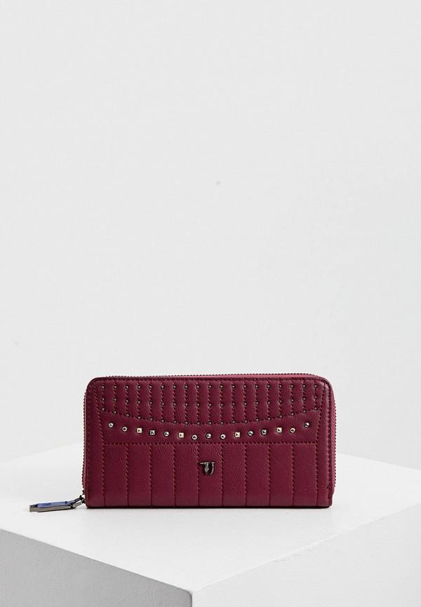 женский кошелёк trussardi, бордовый