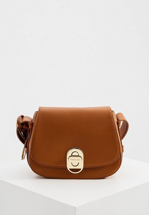 женская сумка trussardi, коричневая