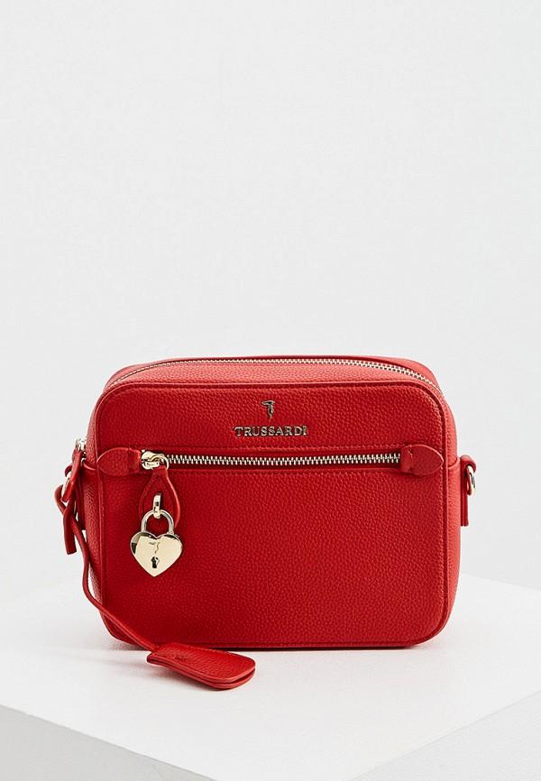 женская сумка через плечо trussardi, красная