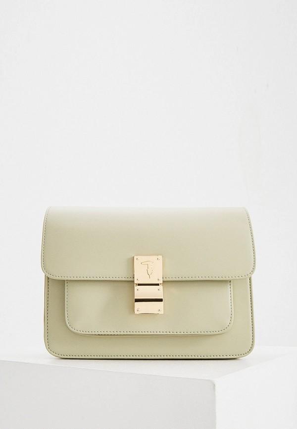женская сумка через плечо trussardi, зеленая