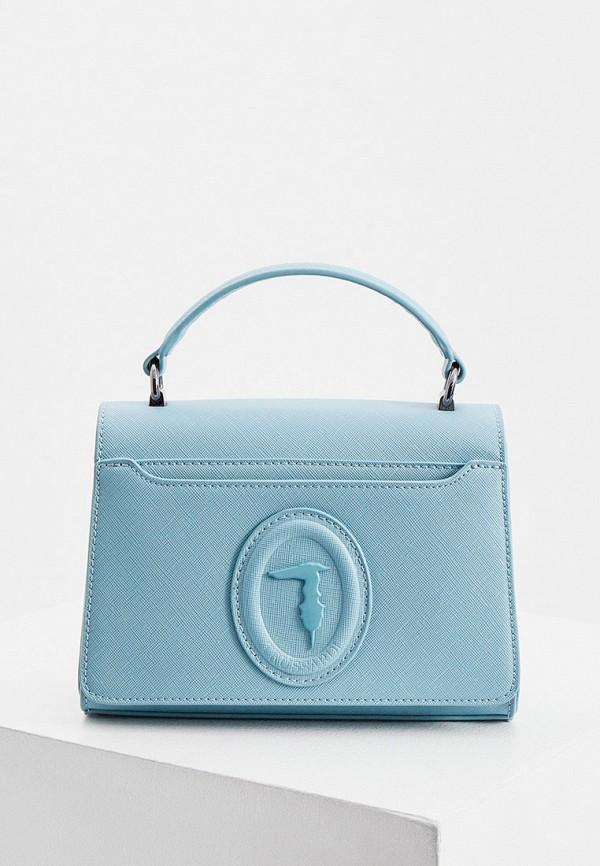 женская сумка с ручками trussardi, голубая