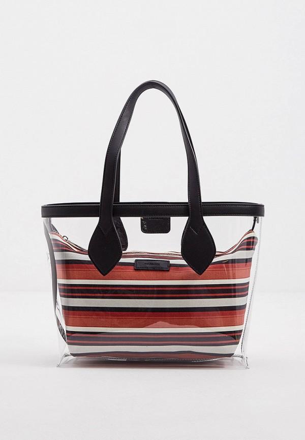 женская сумка с ручками trussardi, разноцветная
