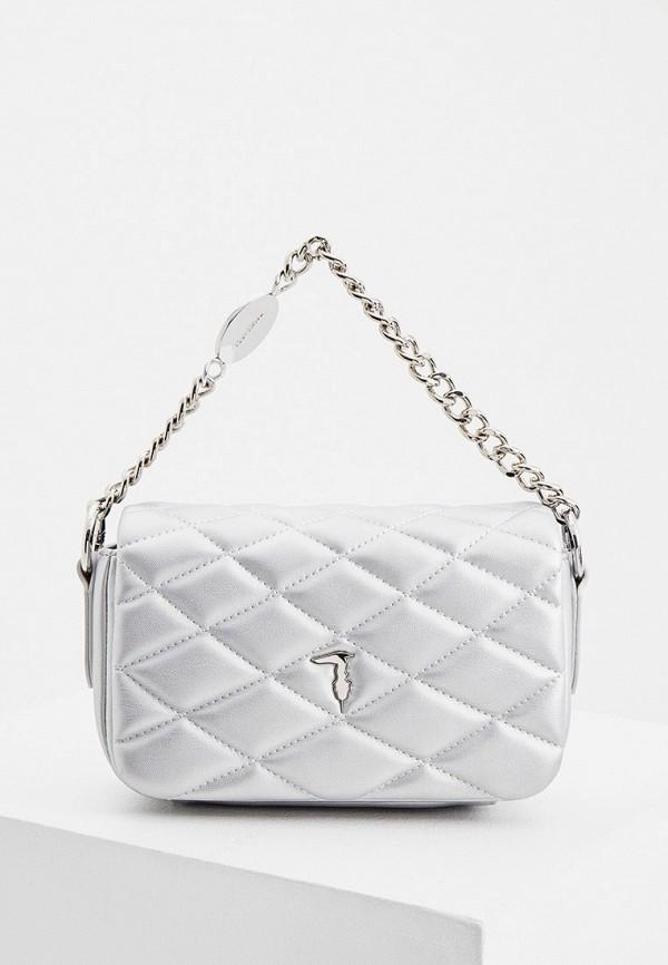 женская поясные сумка trussardi, серебряная