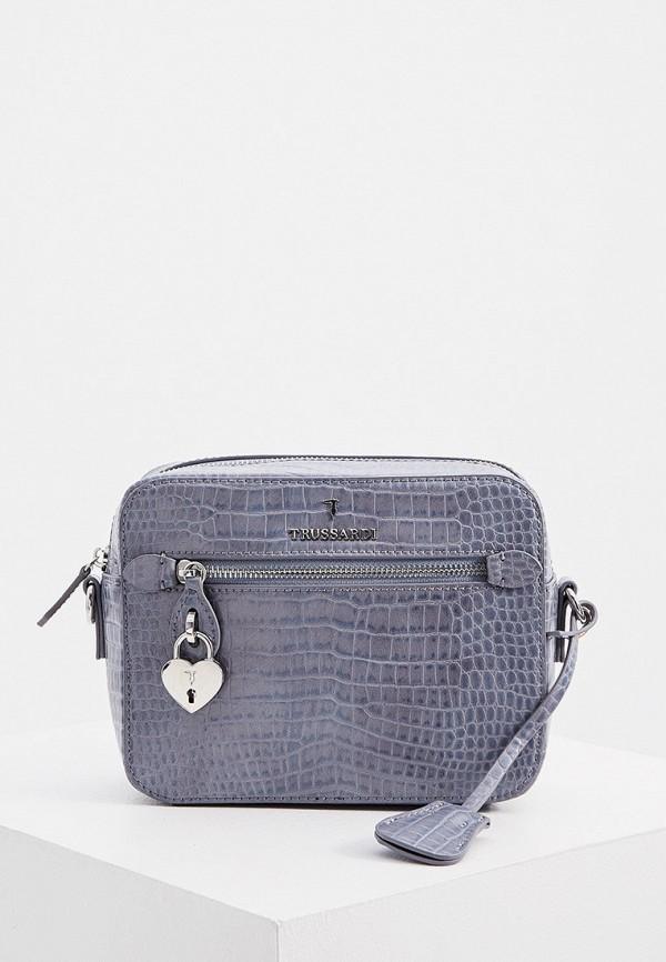 женская сумка через плечо trussardi, голубая