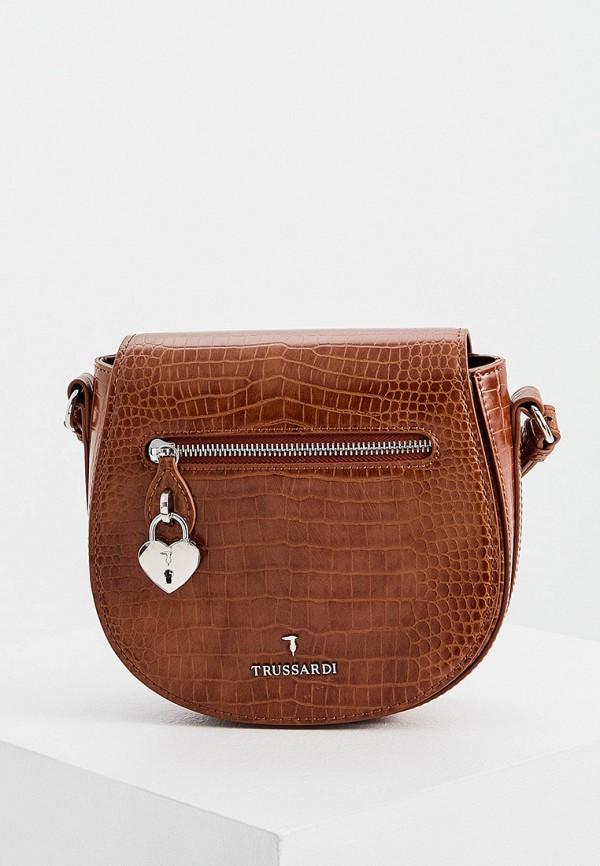 женская сумка через плечо trussardi, коричневая
