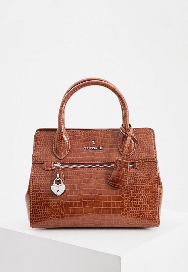 женская сумка с ручками trussardi, коричневая