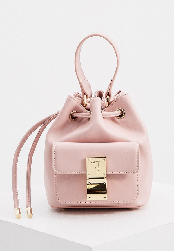 женская сумка-ведро trussardi, розовая