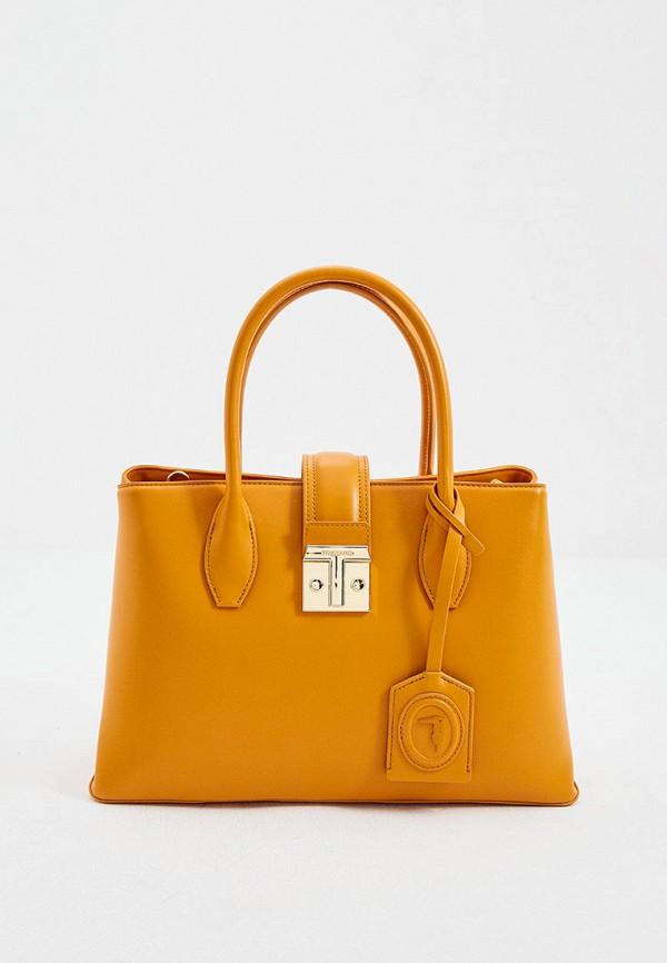 женская сумка с ручками trussardi, оранжевая