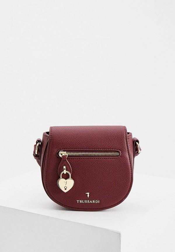 женская сумка через плечо trussardi, бордовая