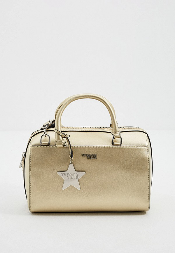 женская сумка с ручками trussardi, золотая