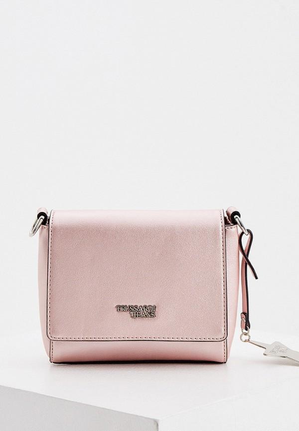 женская сумка trussardi, розовая