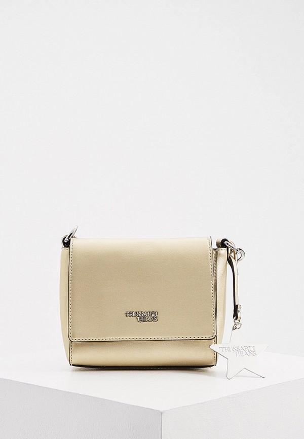 женская сумка через плечо trussardi, золотая