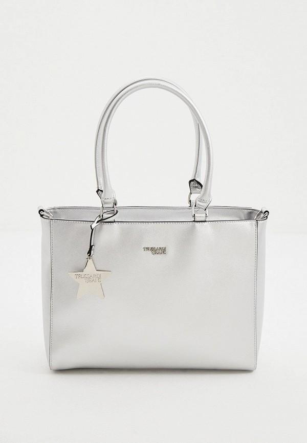женская сумка с ручками trussardi, серебряная