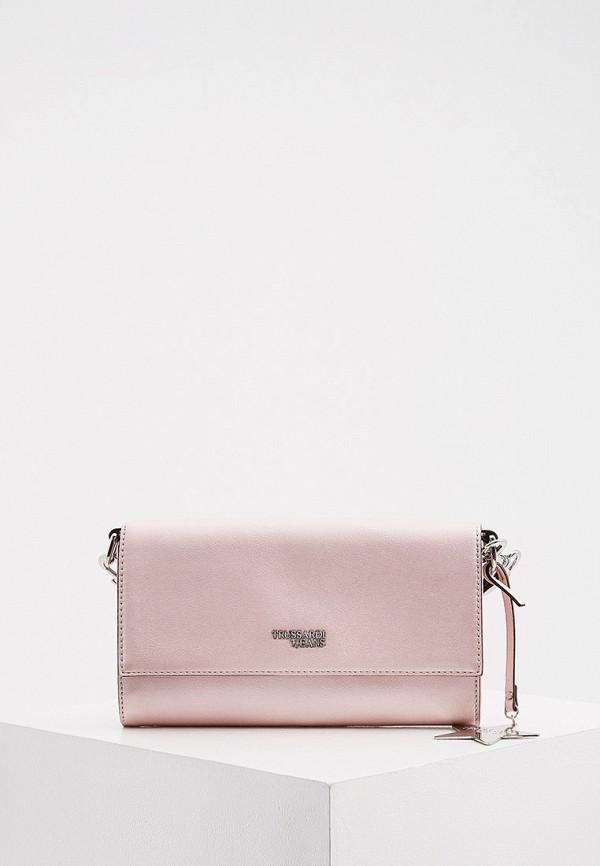 женская сумка через плечо trussardi, розовая
