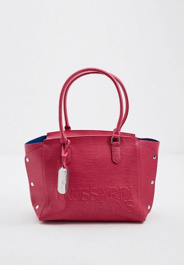 женская сумка с ручками trussardi, розовая