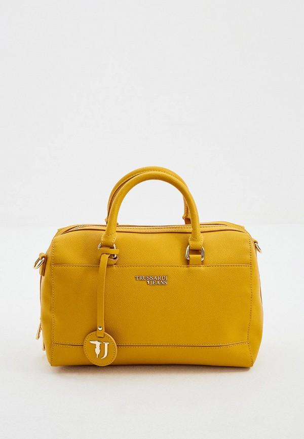 женская сумка с ручками trussardi, желтая