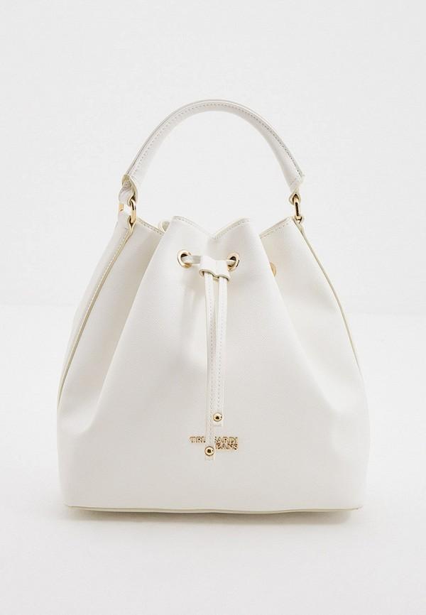 женская сумка-ведро trussardi, белая