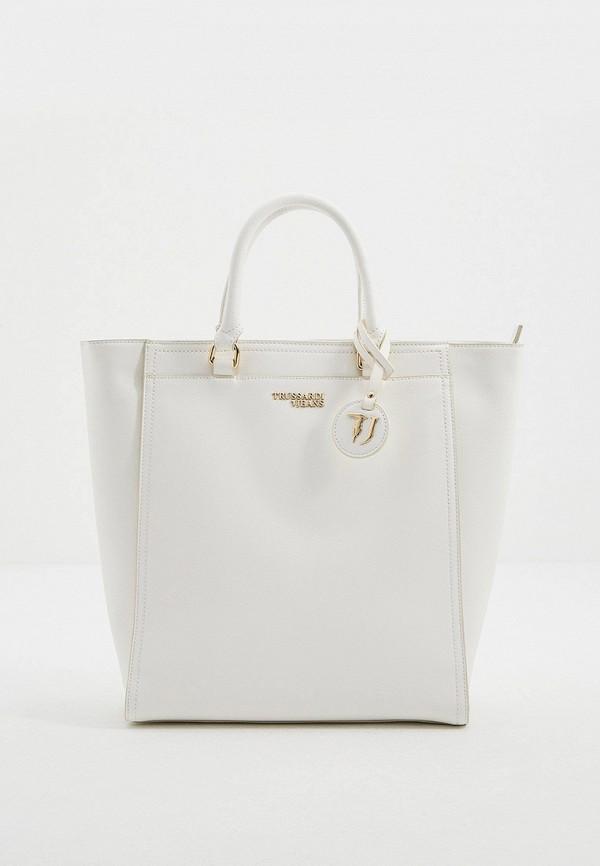 женская сумка с ручками trussardi, белая