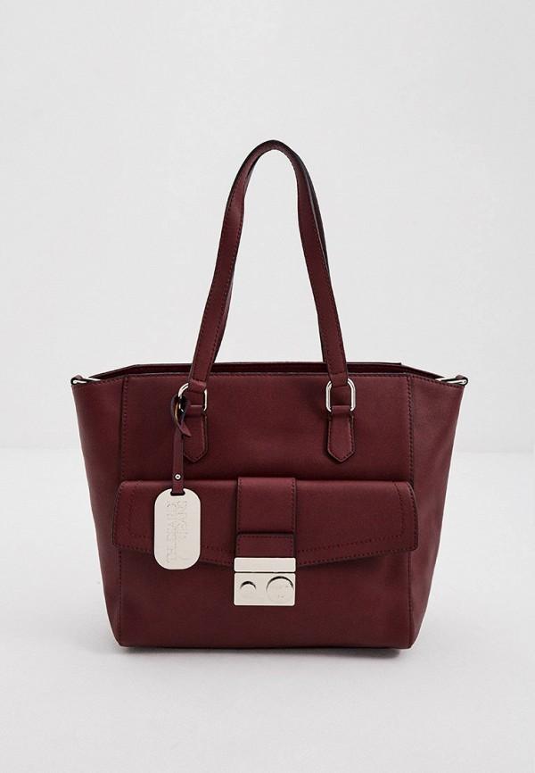 женская сумка с ручками trussardi, бордовая