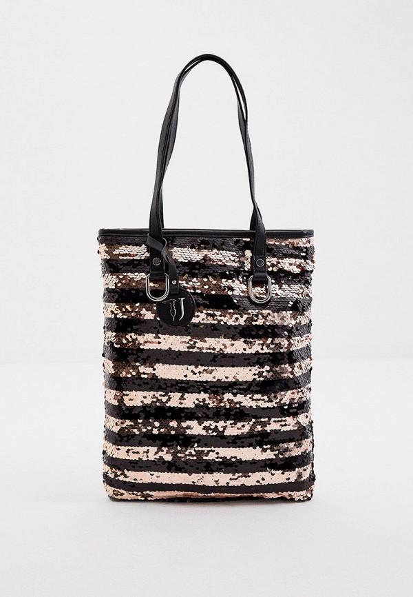 женская сумка-шоперы trussardi, разноцветная