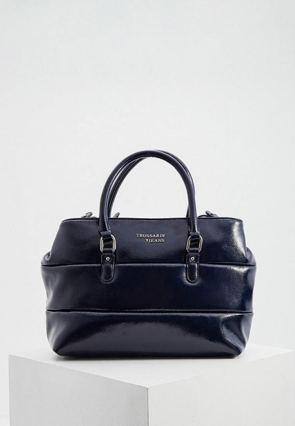 женская сумка с ручками trussardi, синяя