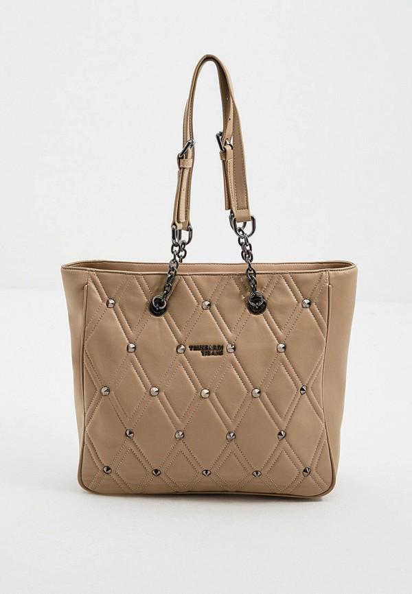 женская сумка с ручками trussardi, бежевая