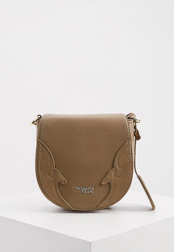 женская сумка через плечо trussardi, хаки