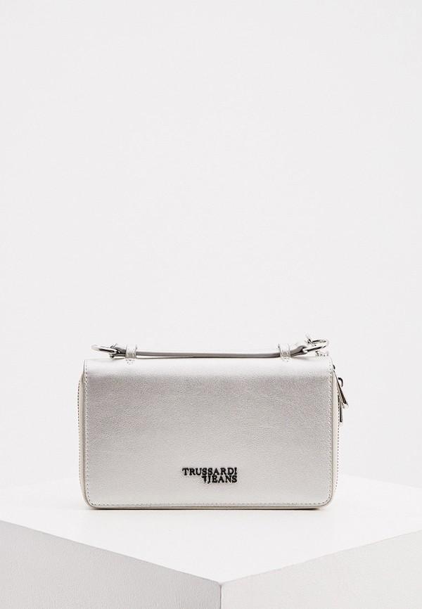 женский кошелёк trussardi, серебряный