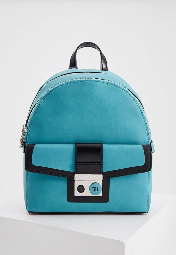 женский рюкзак trussardi, бирюзовый