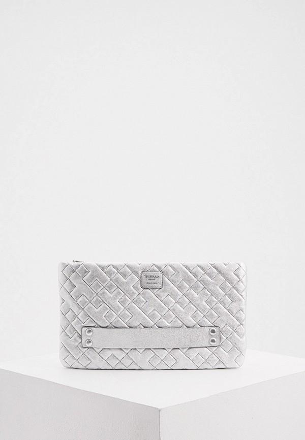 женская сумка через плечо trussardi, серебряная