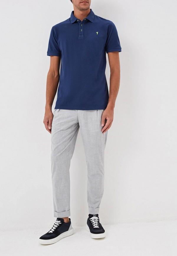 Фото 2 - мужское поло Trussardi Jeans синего цвета