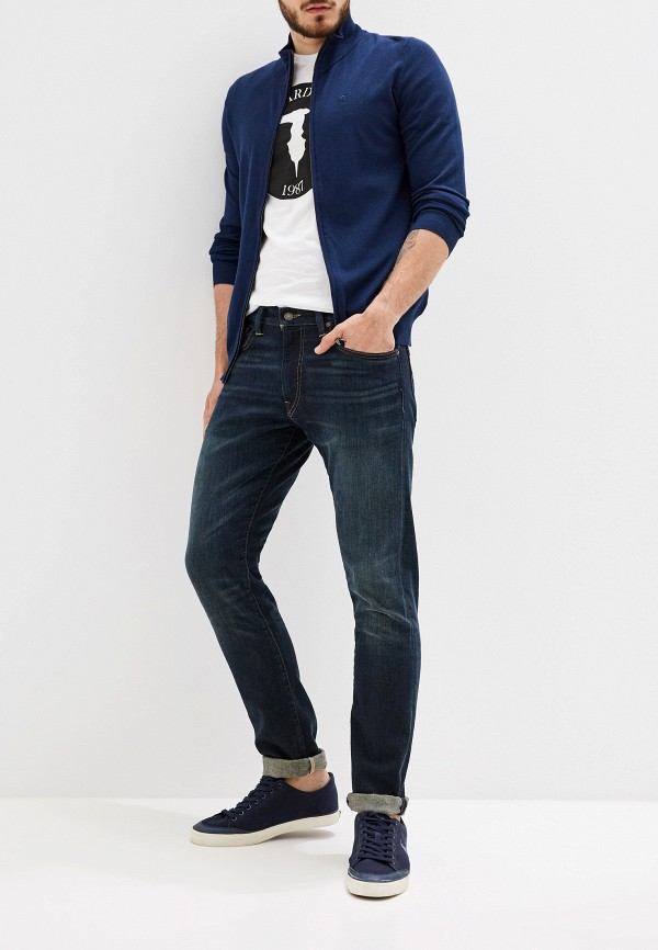 Фото 2 - мужской кардиган Trussardi Jeans синего цвета