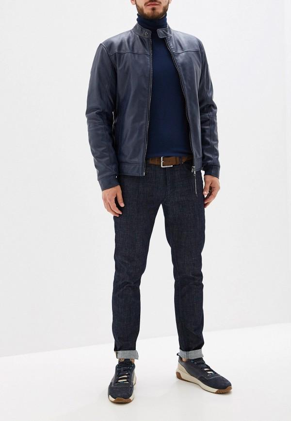 Фото 2 - Куртку кожаная Trussardi Jeans синего цвета