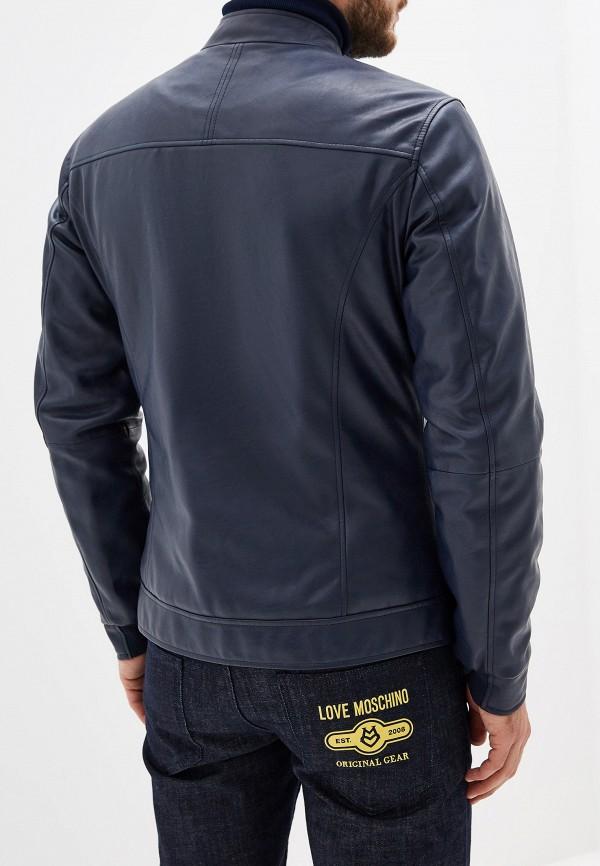 Фото 3 - Куртку кожаная Trussardi Jeans синего цвета