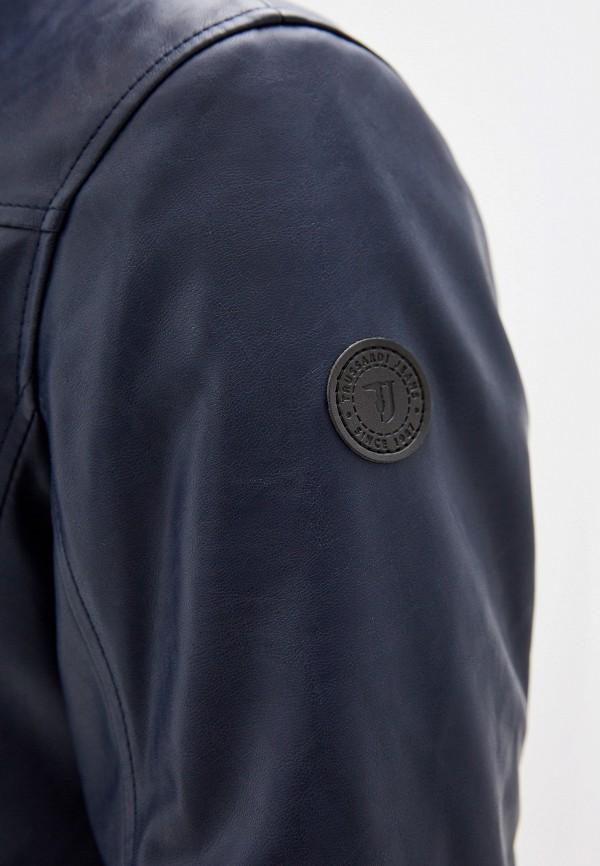 Фото 4 - Куртку кожаная Trussardi Jeans синего цвета
