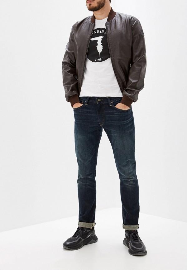 Фото 2 - Куртку кожаная Trussardi Jeans коричневого цвета