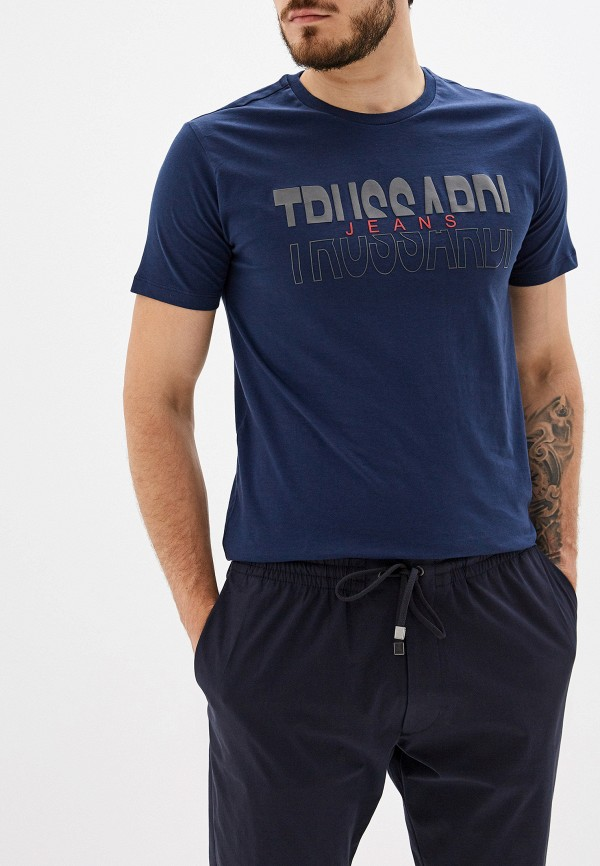 Фото - мужскую футболку Trussardi Jeans синего цвета