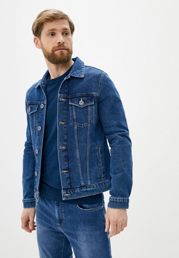 мужская джинсовые куртка trussardi, синяя