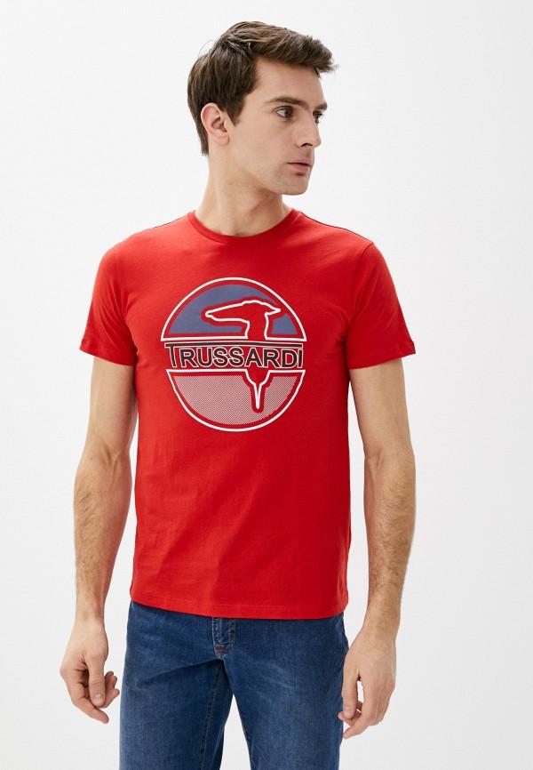 мужская футболка trussardi, красная