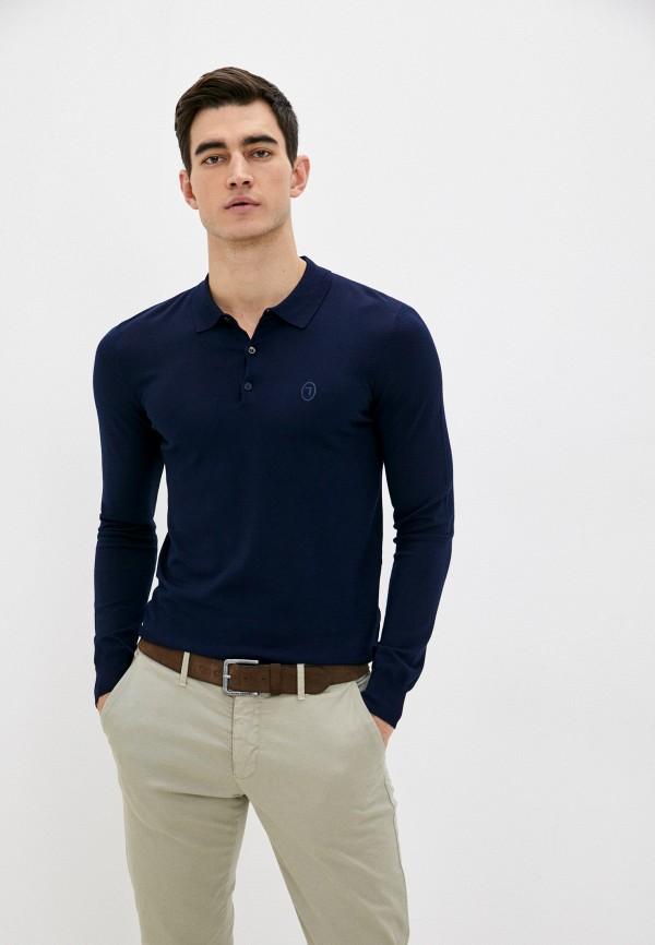 мужское поло trussardi, синее
