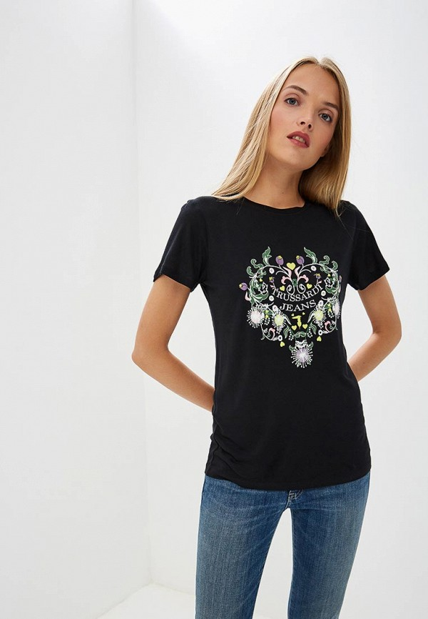 Купить Женскую футболку Trussardi Jeans черного цвета