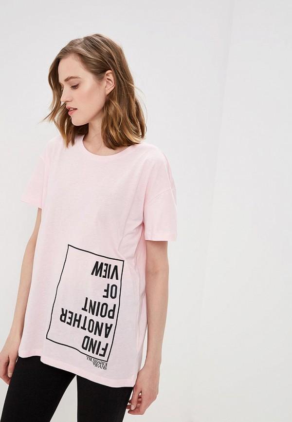 женская футболка trussardi, розовая