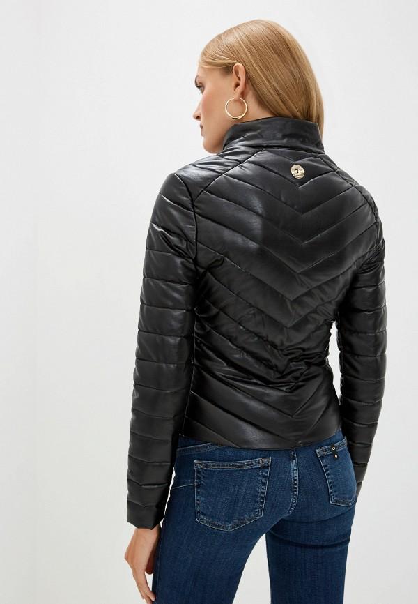 Фото 3 - Куртку кожаная Trussardi Jeans черного цвета