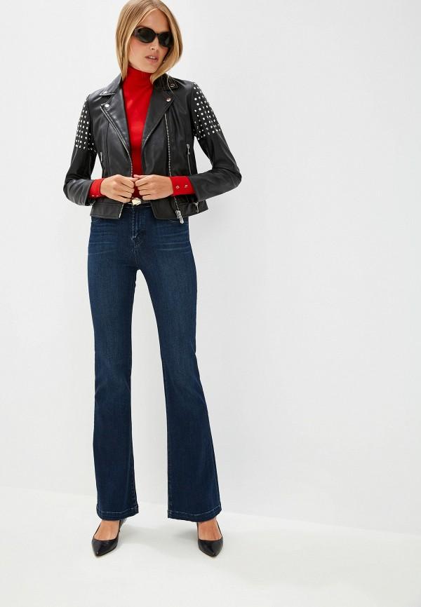 Фото 2 - Куртку кожаная Trussardi Jeans черного цвета