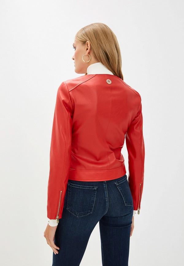 Фото 3 - Куртку кожаная Trussardi Jeans красного цвета