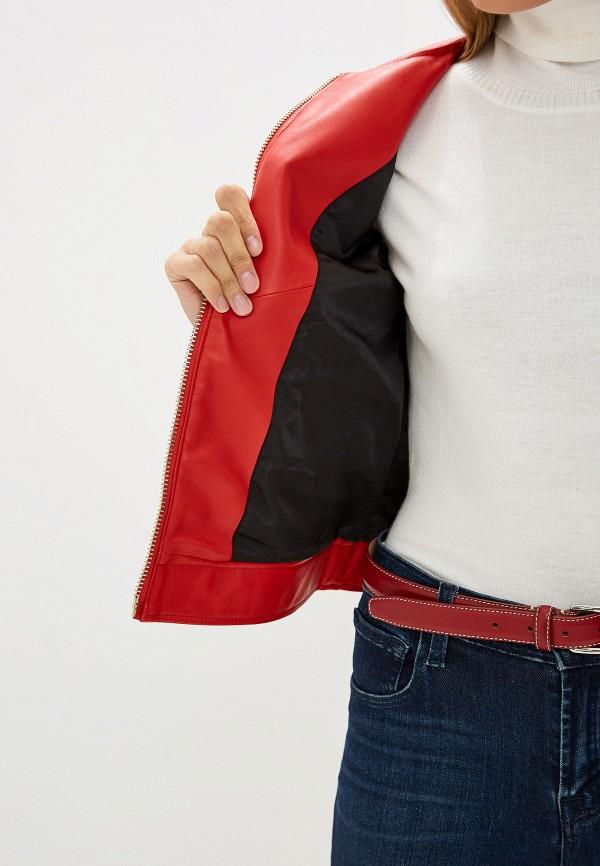Фото 4 - Куртку кожаная Trussardi Jeans красного цвета