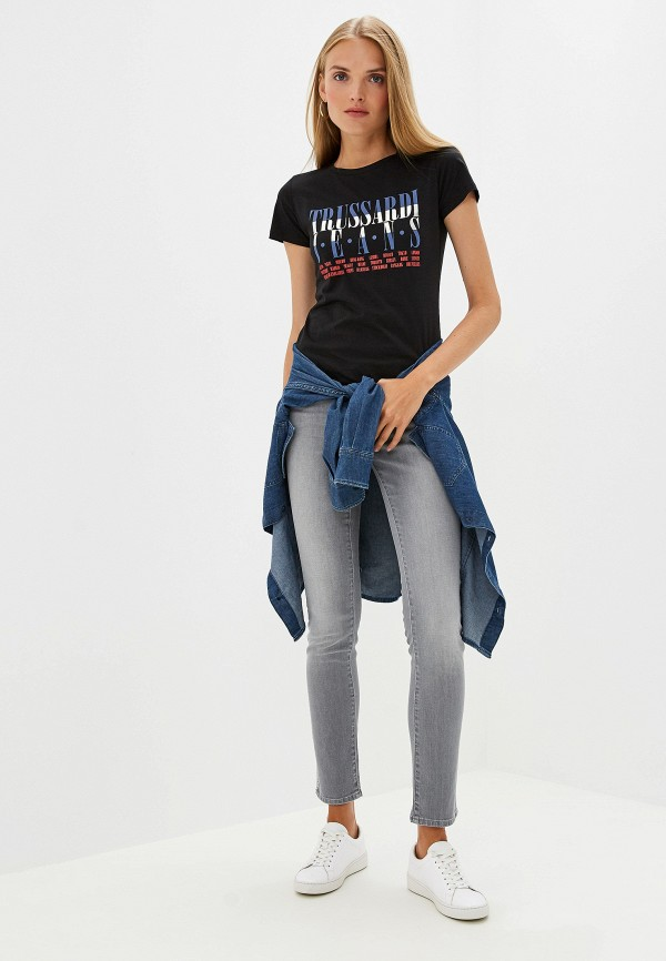 Фото 2 - женскую футболку Trussardi Jeans черного цвета